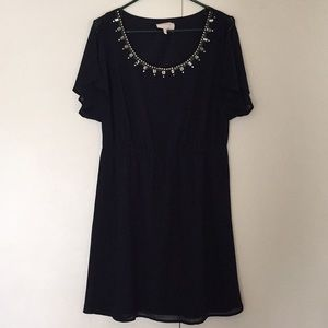 Navy Blue Dress with beaded detail